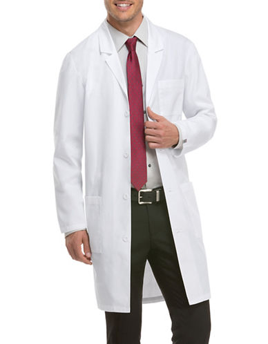 Dickies Antimicrobial with Fluid Barrier 40-Inch Lab Coat-WHITE-X-Small