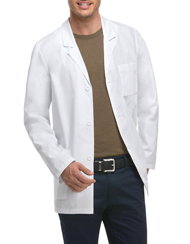 Dickies Antimicrobial with Fluid Barrier 31-Inch Lab Coat-WHITE-Small