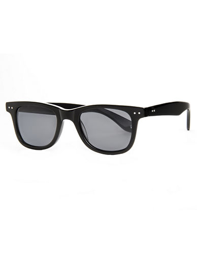 Polaroid Plastic Rectangle Sunglasses-BLACK-One Size
