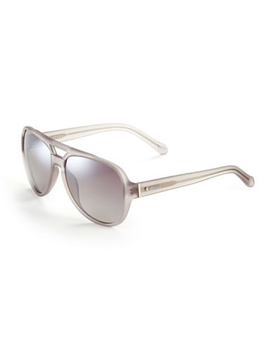 Fossil Clear Aviator Sunglasses-LIGHT GREY-One Size
