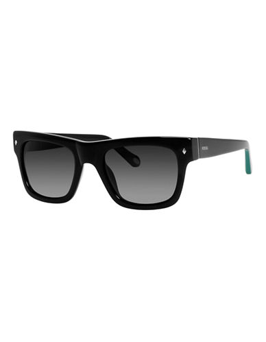 Fossil Plastic Square Sunglasses-BLACK-One Size