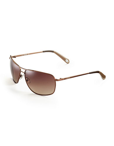 Fossil Oval Aviator Sunglasses-ALMOND-One Size