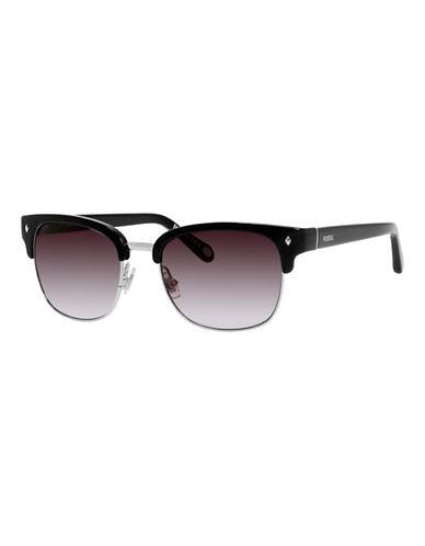 Fossil Half Rim Wayfarer Sunglasses-BLACK-One Size
