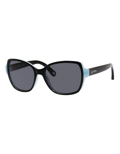 Fossil Square Sunglasses with Contrast Front-BLACK PALE BLUE-One Size