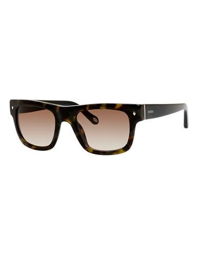 Fossil Plastic Square Sunglasses-GREEN HAVANA-One Size