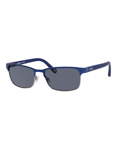 Fossil Metal Square Aviator-NAVY-One Size