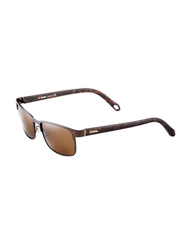Fossil Rectangular Metal Frame Sunglasses-BROWN-One Size