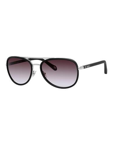Fossil Two Tone Aviator Sunglasses-BLACK-One Size