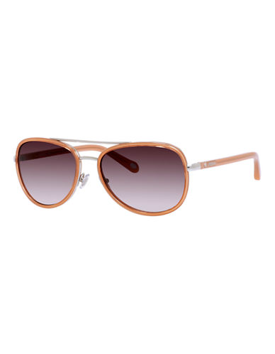Fossil Two Tone Aviator Sunglasses-ORANGE-One Size