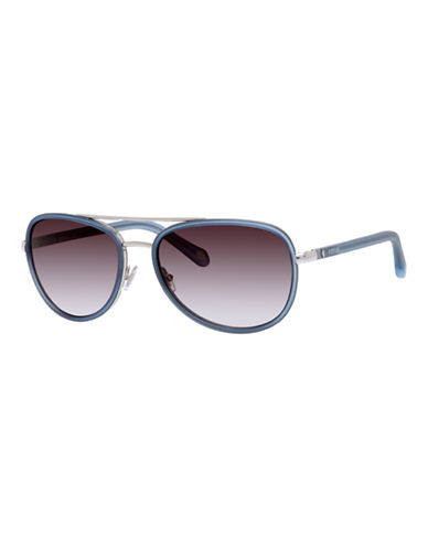 Fossil Two Tone Aviator Sunglasses-SILVER-One Size