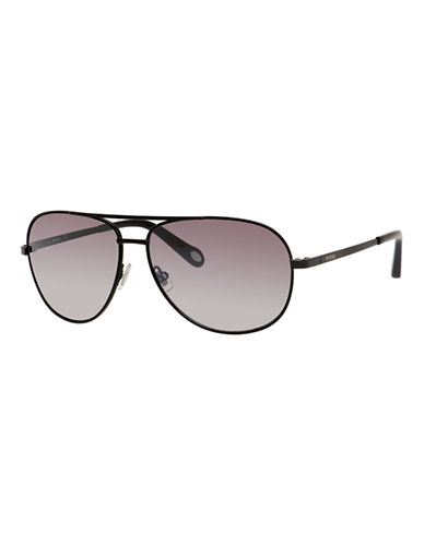 Fossil Metallic Aviator Sunglasses-BLACK-One Size