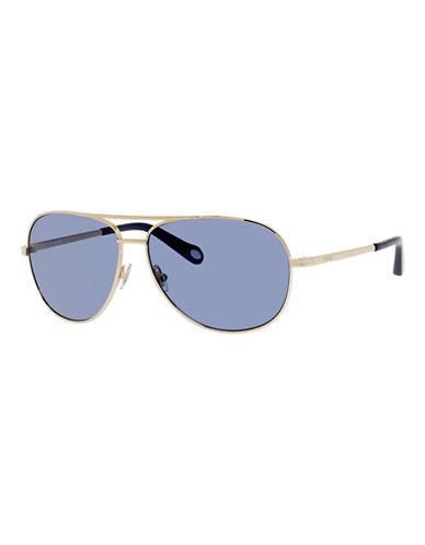 Fossil Metallic Aviator Sunglasses-LIGHT GOLD-One Size