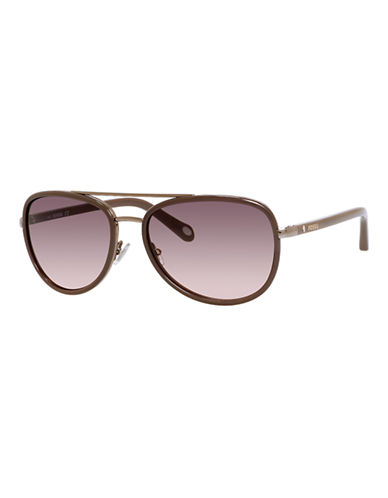 Fossil Two Tone Aviator Sunglasses-ALMOND-One Size