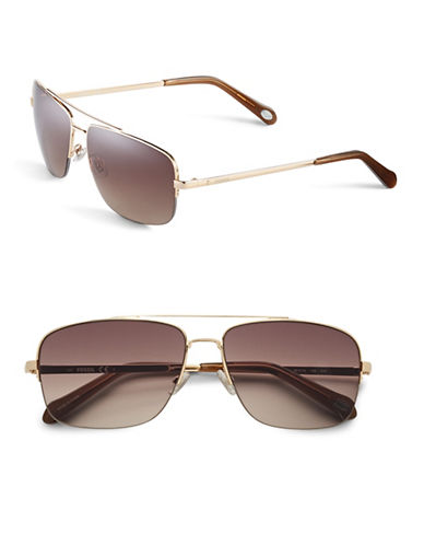 Fossil 60mm Rectangle Aviator Sunglasses-GOLD-One Size