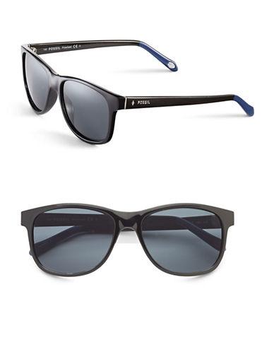 Fossil 56mm Polarized Rectangle Sunglasses-BLACK-One Size