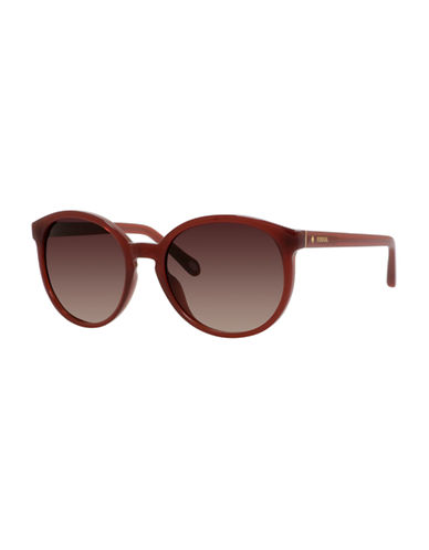 Fossil Tinted 56mm Round Sunglasses-DARK RED-One Size