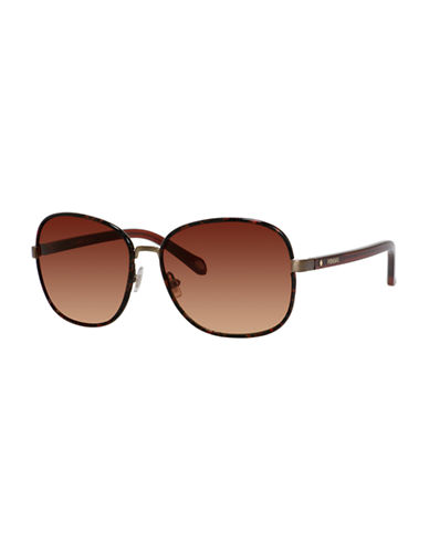 Fossil Tinted 60mm Square Sunglasses-ANTIQUE GOLD-One Size
