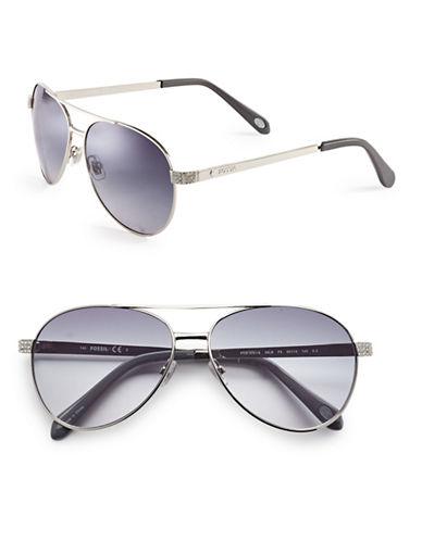 Fossil Rhinestone Embellished 60mm Aviator Sunglasses-SILVER-One Size
