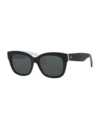 Kate Spade New York 53mm Bright and Bold Rectangular Sunglasses-BLACK / WHITE-One Size