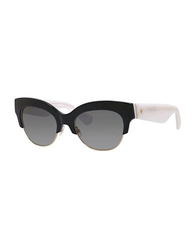 Kate Spade New York 53mm Contrast Clubmaster Sunglasses-BLACK/WHITE-One Size
