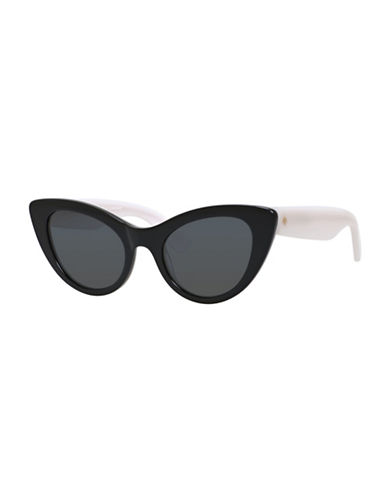 Kate Spade New York 50mm Bright and Bold Cat-Eye Sunglasses-BLACK / WHITE-One Size