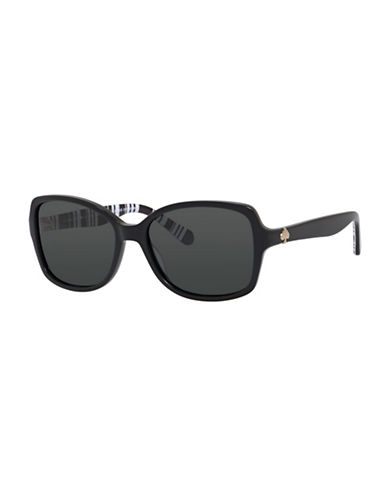 Kate Spade New York 56mm Classic Square Sunglasses-BLACK/WHITE-One Size