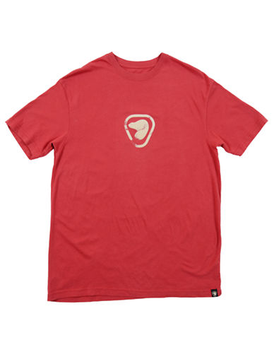 PARKS CANADA ORIGINAL Flocked Beaver Logo T Shirt - RED - Large