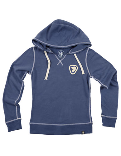 Parks Canada Original Womens Split Neck Hoodie with Felt Beaver Logo-BLUE-X-Small 87022440_BLUE_X-Small