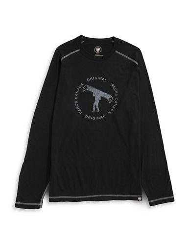 Parks Canada Original Long Sleeve Man and Canoe T-Shirt-BLACK-Small 87880791_BLACK_Small