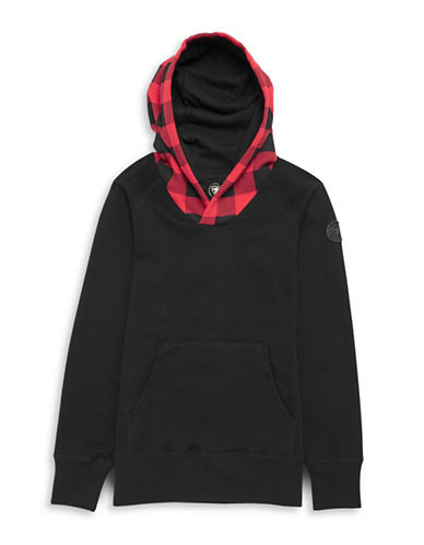 Parks Canada Original Plaid Fleece-Lined Hoodie-BLACK-X-Small 87880837_BLACK_X-Small