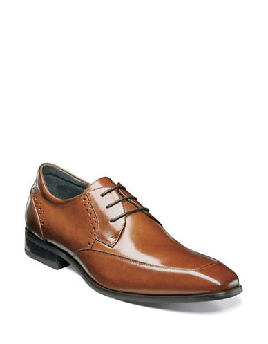 Stacy Adams Polished Leather Manchester Brogue Shoes-COGNAC-9.5