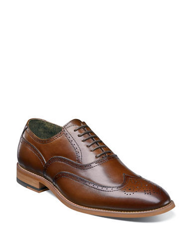 Stacy Adams Dunbar Wingtip Oxford Lace-Up Shoes-COGNAC-9.5