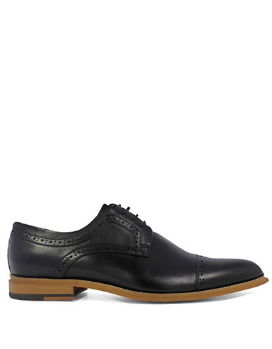 Stacy Adams Dickinson Cap Toe Leather Oxfords-BLACK-9.5