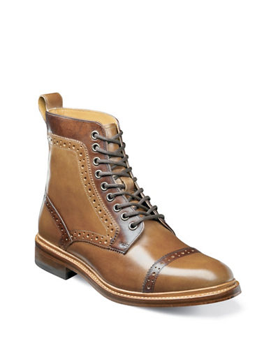 Stacy Adams Leather Lace-Up Boots-BROWN-11W