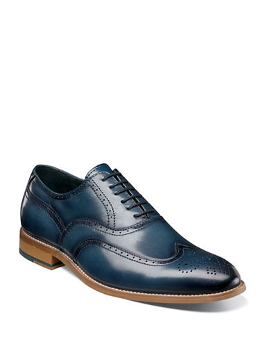 Stacy Adams Dunbar Wingtip Oxford Lace-Up Shoes-INDIGO-9.5