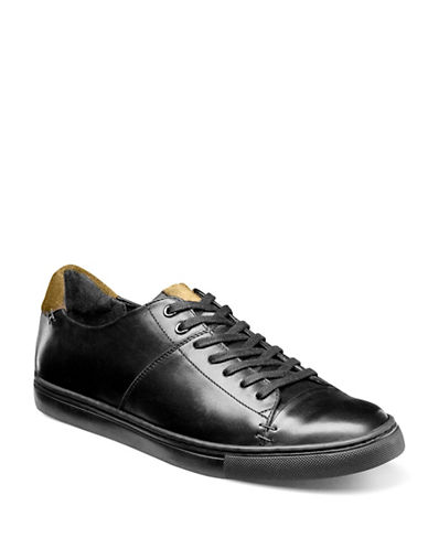 Stacy Adams Lace-Up Leather Sneaker-BLACK-7.5