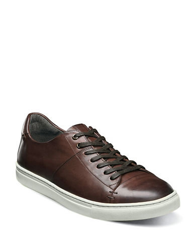 Stacy Adams Lace-Up Leather Sneaker-BROWN-9.5