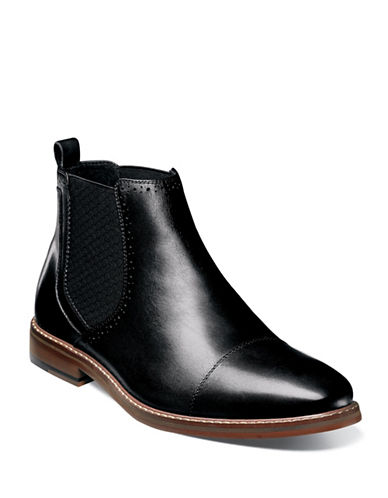 Stacy Adams Amory Cap-Toe Leather Chelsea Boots-BLACK-9.5