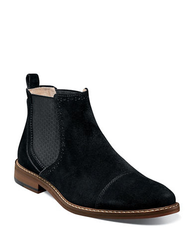 Stacy Adams Amory Suede Chelsea Boots-BLACK-9.5