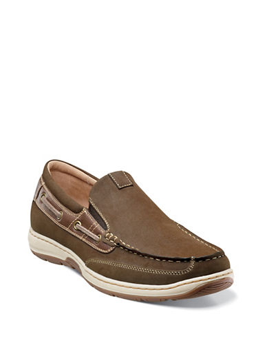 Nunn Bush Outboard Slip-On Boat Shoes-BROWN-7.5