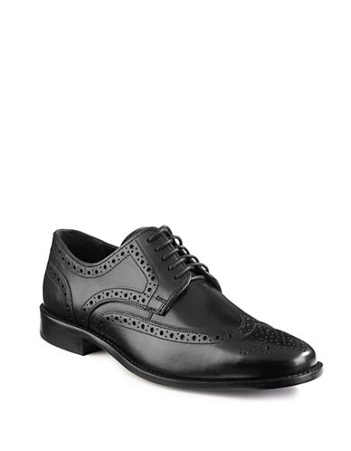 Nunn Bush Nelson Leather Wingtip Shoes-BLACK-7.5