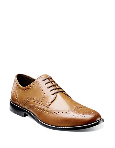 Nunn Bush Nelson Leather Wingtip Shoes-COGNAC-10.5