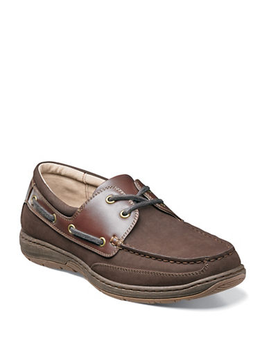 Nunn Bush Outrigger Oxford Boat Shoes-DARK BROWN-9.5W