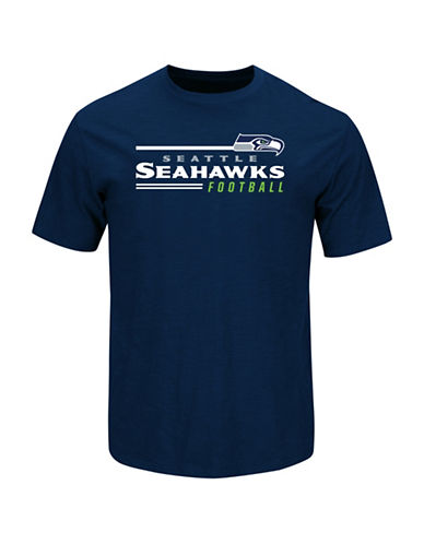 Majestic NFL Seattle Seahawks Line of Scrimmage T-Shirt-ATHLETIC NAVY-XX-Large