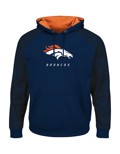 Majestic NFL Denver Broncos Armor II Synthetic Hoodie-NAVY/ORANGE-Large
