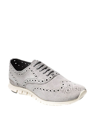 Cole Haan ZeroGrand Suede Wingtip Oxford Shoes-GREY-7.5