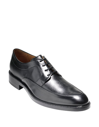 Cole Haan Warren Split Leather Derby Shoes-BLACK-7