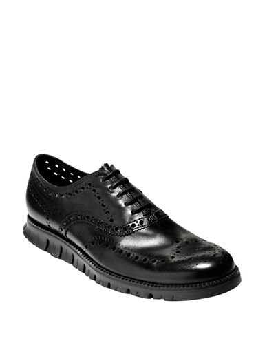 Cole Haan ZeroGrand Wingtip Oxford Shoes-BLACK-10.5