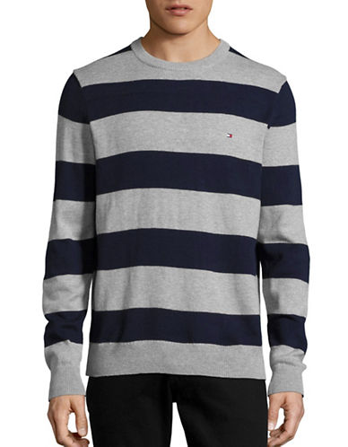 Tommy Hilfiger Striped Sweater-GREY HEATHER-Small
