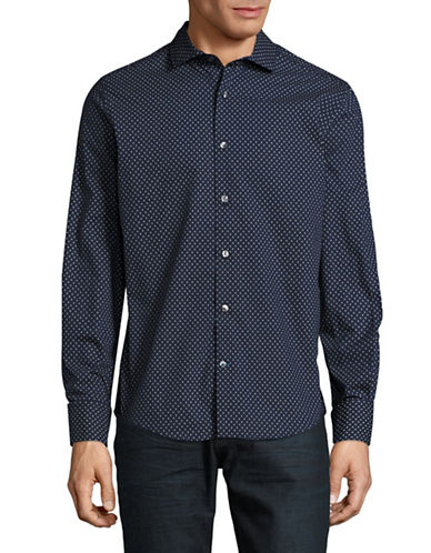 Tommy Hilfiger Reyner Paisley Print Sport Shirt-BLUE-Small